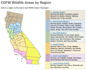 Image of geographical regions for the California Department of Fish and Wildlife.