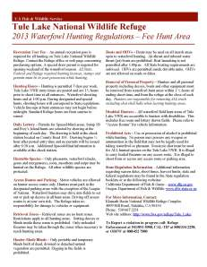 Tule Lake national wildlife refuge brochure for waterfowl hunting.