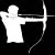 California Department of Fish & Wildlife archery symbol for hunting migratory game birds, waterfowl, ducks, geese, brant, scaup, snipe, coot, and moorhen with a bow and arrow.
