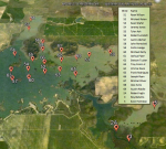 Waterfowl blind map for the Modesto Reservoir